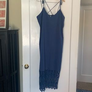 Blue maxi dress with lace bottom